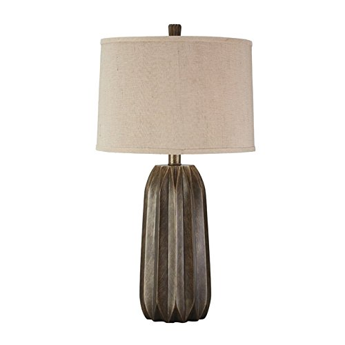 Contemporary 3 Lamp (Signature Design by Ashley L235014 Khalil Contemporary Style Poly Table Lamp with Drum Shade, Grey)