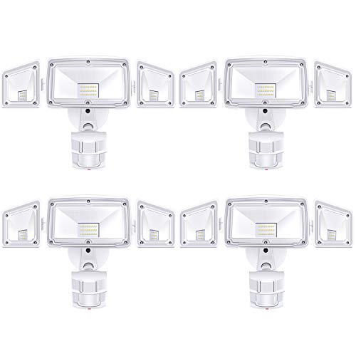 4 Pack 3 Head LED Security Lights Motion Outdoor Motion Sensor Light Outdoor 40W 3500 Lumens 6000k Waterproof IP65 ETL Motion Sensor Flood Light Exterior Security Light led