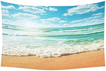 INTERESTPRINT Sea Wave Decor Collection, Coast of Beach at Sunny Day Tapestry Wall Hanging Art Sets 60 X 40 Inches