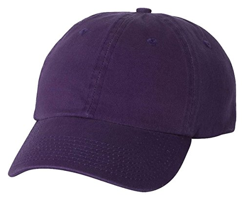 Profile Chino Twill Cap (Bayside - USA-Made Unstructured Cap - 3630-Purple-Adjustable)
