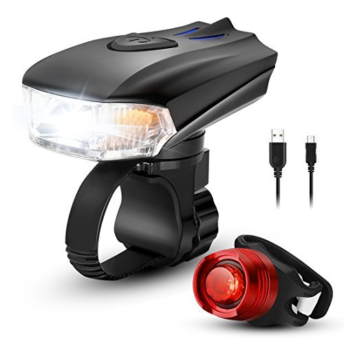 LED USB Rechargeable Smart Bike Light Set, ZOKER Super Bright 400 Lumens Bike Headlight and FREE Tail Light, Waterproof and Easy to Install Bike Lights Front And Back for Kids Men Women Cycling Safety
