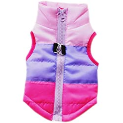 Voberry Cat Dog Pet Apparel Winter Striped Quilted Vest Coat Harness Jacket (M, Hot Pink)