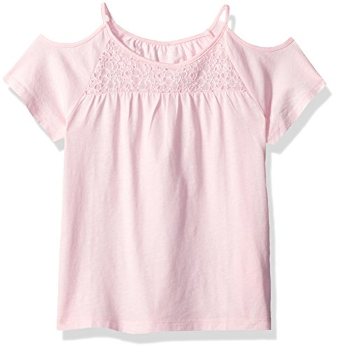 The Children's Place Big Girls' Lace Cold Shoulder Top, Shell, L (10/12) (Girls Top)