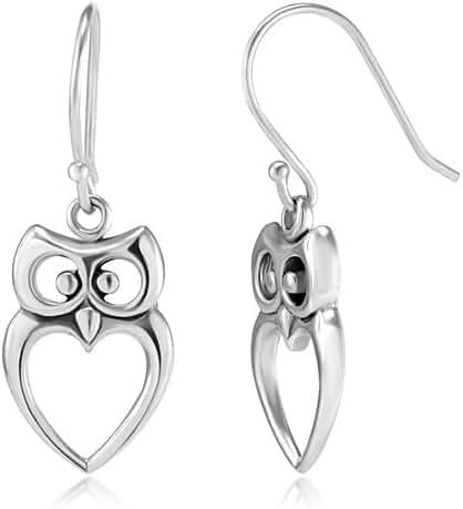 925 Sterling Silver Owl Cut-Out Heart Dangle Hook Earrings