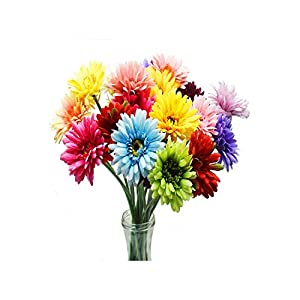 Barry-Home 10PCS Artificial Flowers Sunflower Flowers Fake Simulation Silk Gerbera Daisy Bouquet Bride Bridesmaid Flowers for Wedding Party 109