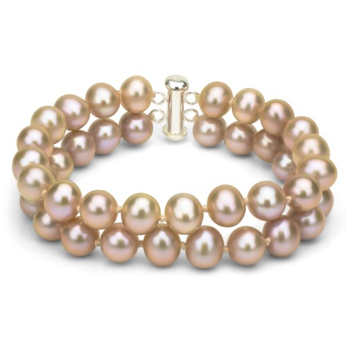 Sterling Silver 2 Rows 8-8.5mm Pink Freshwater Cultured Pearl Bracelet with Tube Clasp, 7.25