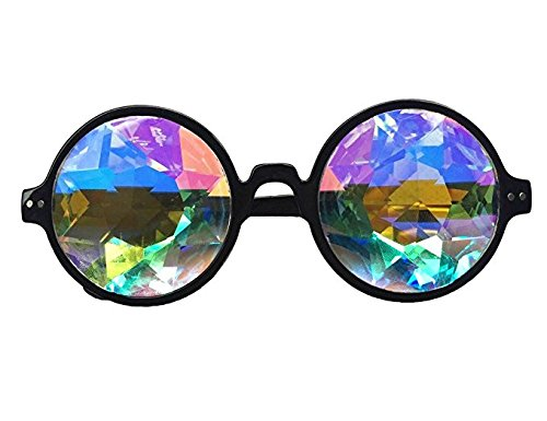 DODOING Festivals Kaleidoscope Glasses For raves - Goggles Rainbow Prism diffraction Crystal Lenses (One Size-Adjustable Head Band, Black+Pink) by DODOING (Image #2)