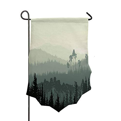 Double Sided 3D Printed Garden Flag,Valley and a Mystic Forest of Pine Trees,Egg Shell,Holiday Decorations Outdoor Garden Flag Durable Cotton and - Mystic Valley Linens