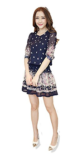 Tobyak Sweet Short Sleeve Summer Dress Flower Floral Dresses Plus Size Women Clothing BlueX-Small - Dolce Buy Gabbana And Online