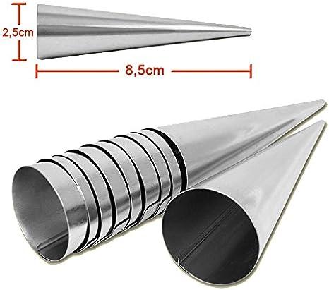 Para hacer barquillos para molde de 20 Set de ollas de acero inoxidable (85 mm x 25 mm) Set de 20 moldes con forma de cono