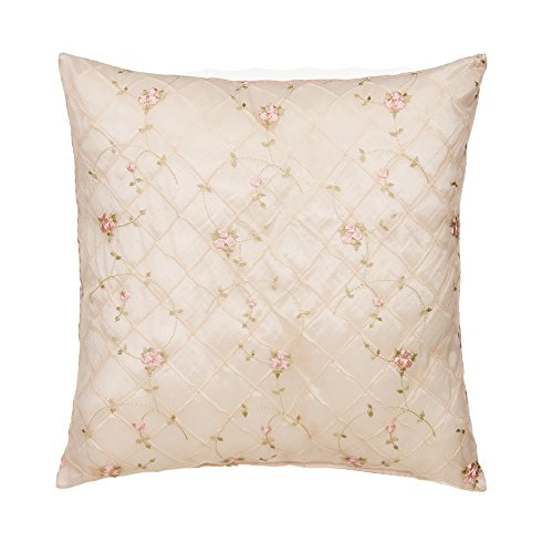 Glenna Jean Cottage Collection Rose Pillow Emb Overly Face, Pink Gingham Back