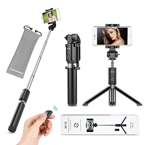 Selfie Stick Tripod with Bluetooth Remote - VANZAVANZU New Best Design Phone Holder with Foldable Tripod for iPhone X 6s Plus 7 Plus Samsung s7 Edge, Podcast, Live Broadcasting, Facetime (Black)