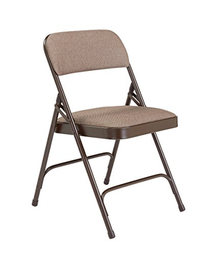 National Public Seating 2200 Series Steel Frame Upholstered Premium Fabric Seat and Back Folding Chair with Double Brace, 480 lbs Capacity, Russet Walnut/Brown (Carton of 4)