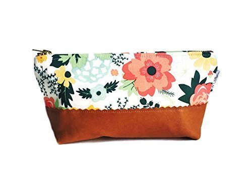 fc2bd0c2a302 Image Unavailable. Image not available for. Color  Cream Floral Brown  Leather Pouch