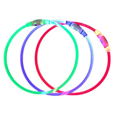 Pack of 1 PCS- LED Dog Collar, USB Rechargeable, glowing pet dog collar for night safety, fashion light up tube flashing tube collar for small medium large dogs