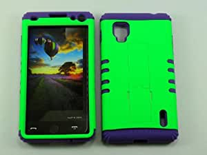 Cell-Attire Shockproof Hybrid Case For LG Optimus G, LS970 and Stylus Pen, Light Purple Soft Rubber Skin with Hard Cover (Neon Light Green) Sprint by runtopwell
