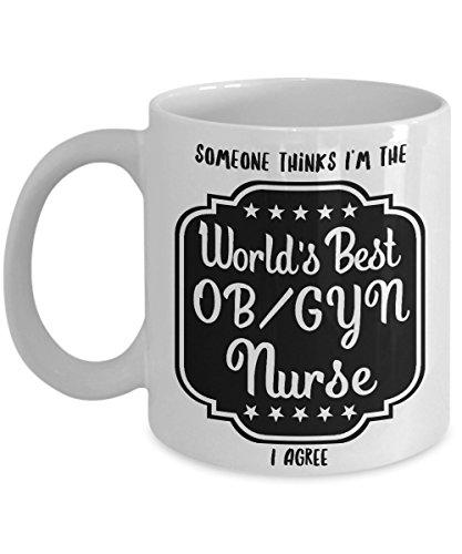 OB/GYN Nurse Mug, World's Best, Great Nursing Related Gifts, White Ceramic Coffee - Pinback Nice Button