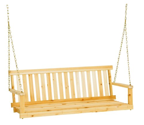 Jack Post Jennings Traditional 4-Foot Swing Seat with Chains in Unfinished - Wooden Swing Outdoor