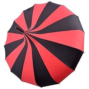 Kung Fu Smith Vintage Victorian Pagoda Parasol Umbrella, UV Protection Rain Umbrella with Hook Handle