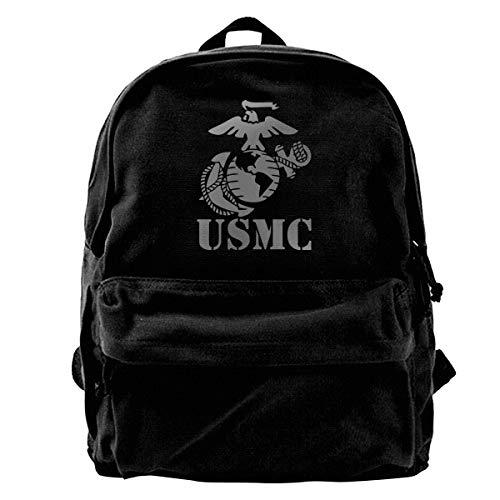 Canvas Backpack Eagle Globe Anchor USMC Marine Corps Rucksack Gym Hiking Laptop Shoulder Bag Daypack For Men - Globe Camo Marine