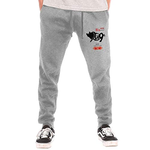 Syins Men's Designed Chinese Calendar for The Year of Pig 2019 Fashion with Pockets Gym Pants Gray 3XL
