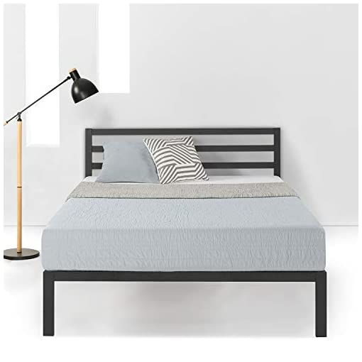 Bedroom Mellow 14 inch Heavy Duty Metal Platform Bed W/Headboard/Wooden Slat Support/Mattress Foundation(No Box Spring Needed… modern beds and bed frames