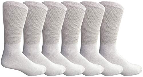 Yacht & Smith Mens Diabetic Crew, Loose Fit Top Soft Cotton Socks, King Size (6 Pack White, King (13-16)) (Smith Cotton Overalls)