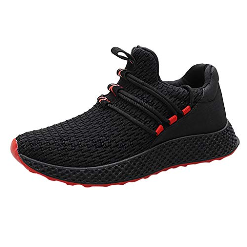 Blocks Run Bike Swim - Garish  Men's Outdoor Weaving Sneakers Casual Breathable Shoe Student Running Shoes Red