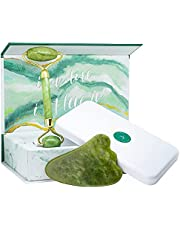 ATAHANA Jade Roller And Gua Sha Set - 100% Natural Jade Stone Roller & Gua Sha - Video Tutorial & Ebook Included - Real Jade Roller For Face