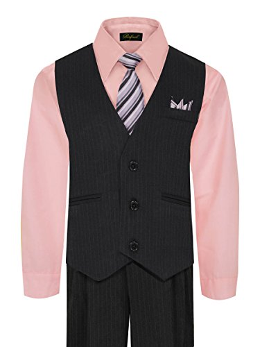 Boys Vest And Pant Set  Includes Shirt  Tie And Hanky    Black Pink  7