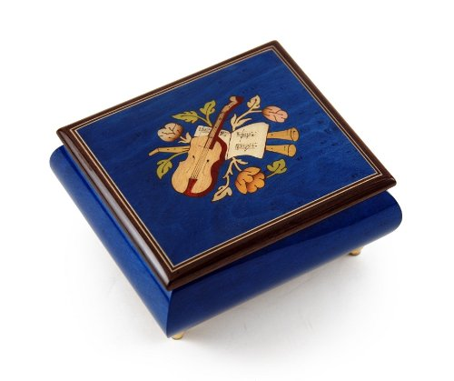 Inspiring Royal Blue Music Theme with Violin Wood Inlay Music Box - Love Story (Love Story the Movie) by MusicBoxAttic