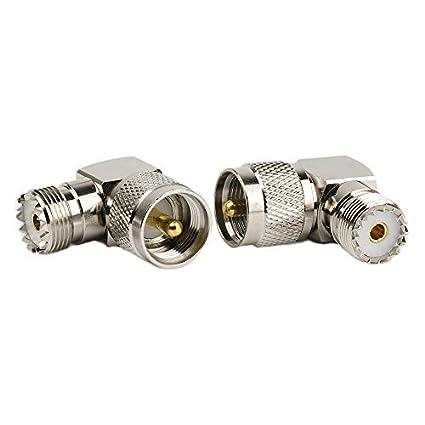 2pcs RF adaptador Coaxial, UHF macho PL259 p53e-so239 hembra, ángulo de ángulo