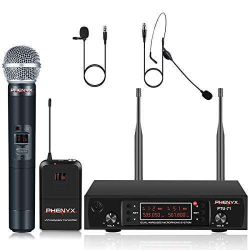 UHF Wireless Microphone System, Phenyx Pro PTU-71 Dual Cordless Mic Set with Handheld/Bodypack/Headset/Lapel Mics, 200 Channels, Long Distance Operation, Ideal for DJ, Church, Events (PTU-71B)