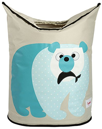 3 Sprouts Laundry Hamper, Polar Bear (Three Nursery Blue Baskets)
