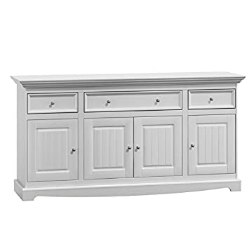 Belluno Prestige solid pine wood sideboard in white with  drawers