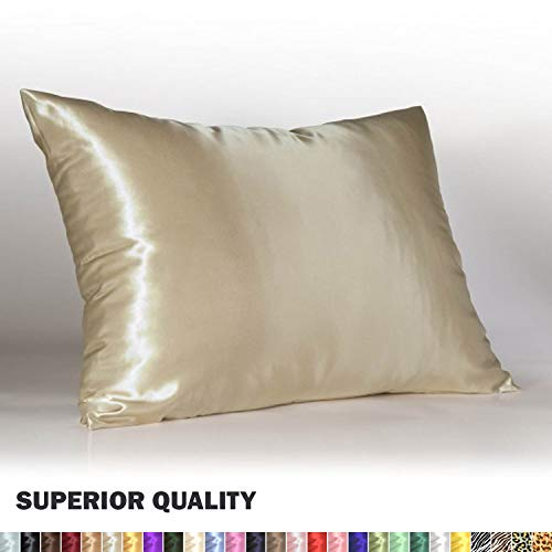 Luxury Satin Pillowcase w/Hidden Zipper, King Size, Champagne ()