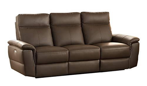 Beau Homelegance Olympia Modern Design Power Reclining Sofa Top Grain Genuine  Leather Match, Raisin