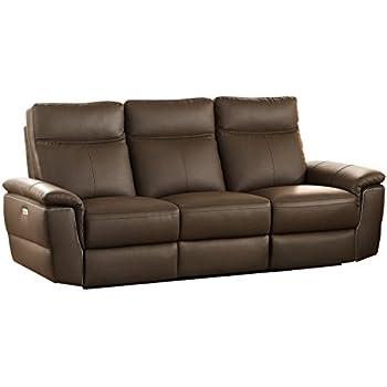 Homelegance Olympia Modern Design Power Reclining Sofa Top Grain Genuine Leather Match, Raisin