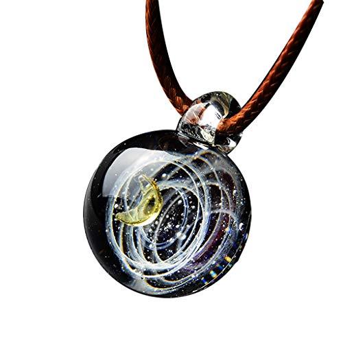 - IslandseUniverse Coloured Glaze Heart Shaped Starry Sky Glass Ball Necklace (H)