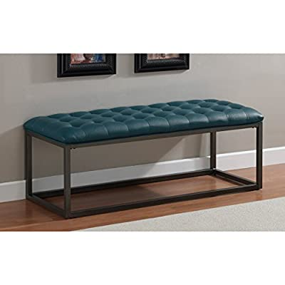 Metro Shop Healy Teal Leather Tufted Bench-- -  - entryway-furniture-decor, entryway-laundry-room, benches - 411QTNloKYL. SS400  -