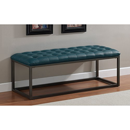 Metro Shop Healy Teal Leather Tufted Bench--