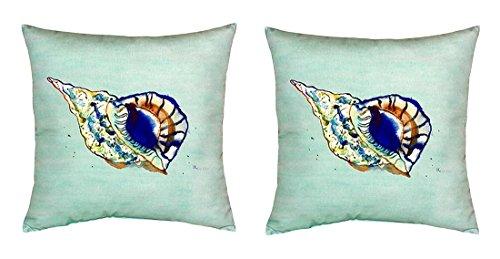 Pair of Betsy Drake Betsy's Shell - Teal No Cord Pillows price