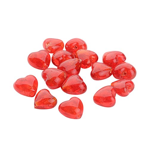 Silver Foil Glass Heart - NBEADS 200Pcs Valentine Gifts for Her Ideas Handmade Silver Foil Glass Beads, Heart, Red, 12x12x8mm, Hole: 2mm