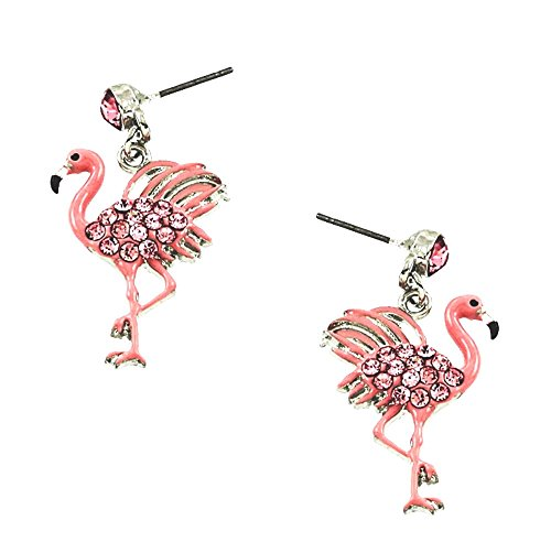 DianaL Boutique Pink Flamingo Earrings Stud Post Crystal Enamel Gift Boxed
