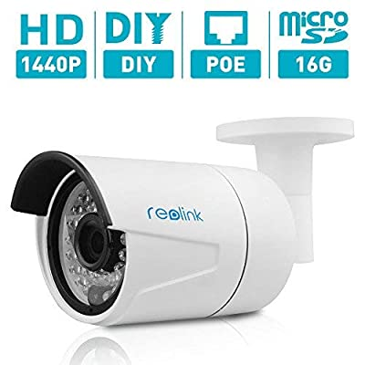 Reolink 4MP (2560x1440) Super HD PoE Camera w/SD Card Outdoor/Indoor Video Surveillance Home IP Security IR Night Vision Motion Detection Audio Support w/Phone App RLC-410S from Reolink Digital