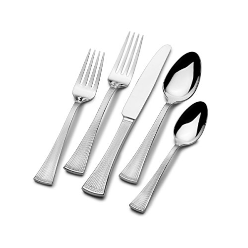 Mikasa 5164950 Flair 65-Piece Stainless Steel Flatware Set with Serveware, Service for 12