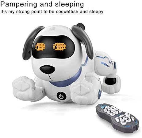 HGYYIO Intelligenter Roboterhund, Fernbedienung, interaktives Programmieren, Mit Zwei Lithiumbatterien, Glühende Augen, für Kinder und Erwachsene