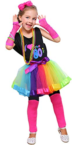 I Love 80s Pop Party Rock Star Child Girl's Costume Accessories Fancy Outfits (8-10, ()