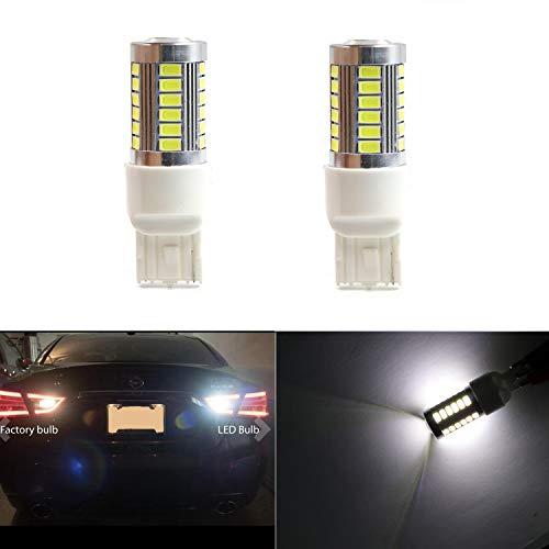 7740 7441 7443 7444 Extremely Bright White-6000K Light 5630 w/33 SMD LED T20 Bulbs for Back up/Reverse Light,Side Marker Light,Tail Brake Lamps (Pack of 2)
