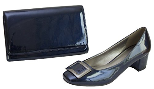 Navy Patent Matching Bag Buckle with Shoes Clutch Hand Red and Chunky Heel Navy Low Anthracite Lunar O8qxwpp